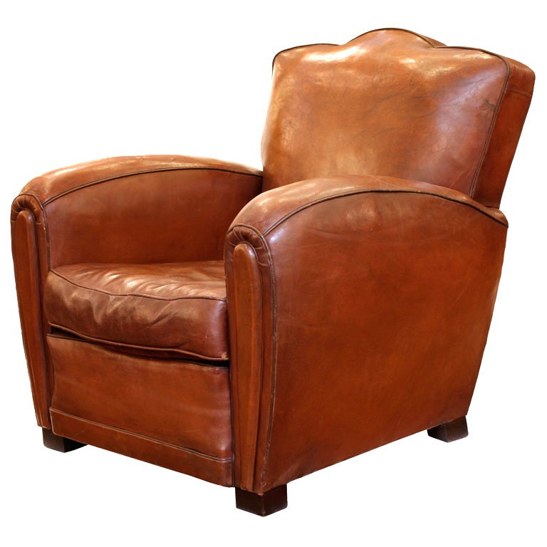 Art deco period leather club chair at 1stdibs for Artistic chairs