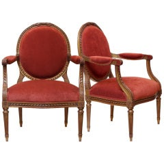 Pair of Louis XVI Gold Leafed & Hand Carved Armchairs