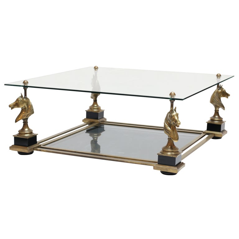 Maison Charles Brass Bronze And Glass Coffee Table At 1stdibs