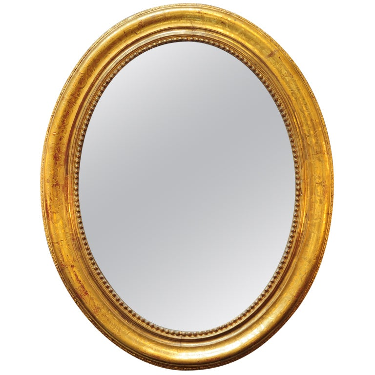 French 19h Century Oval Gold Leafed Mirror At 1stdibs