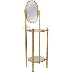 French Vintage Brass & Mirror Vanity