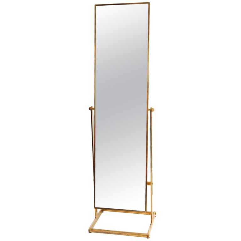 French modernist solid gilded brass psyche standing for Floor length mirror for sale