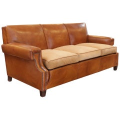 French Art Deco Leather Sofa in the manner of Jean-Michel Frank