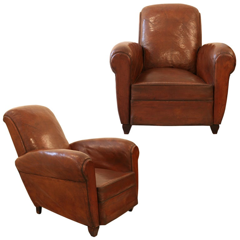 French Vintage Pair Of Leather Club Chairs At 1stdibs