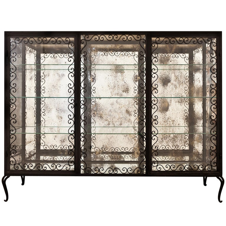 french vintage forged iron and glass vitrine at 1stdibs. Black Bedroom Furniture Sets. Home Design Ideas