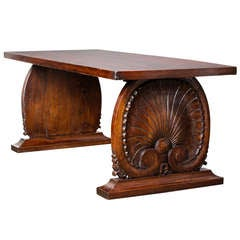 French Carved Chestnut Altar Table From The Alps