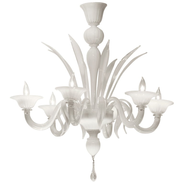 Murano Opaline Glass Chandelier For Sale At 1stdibs