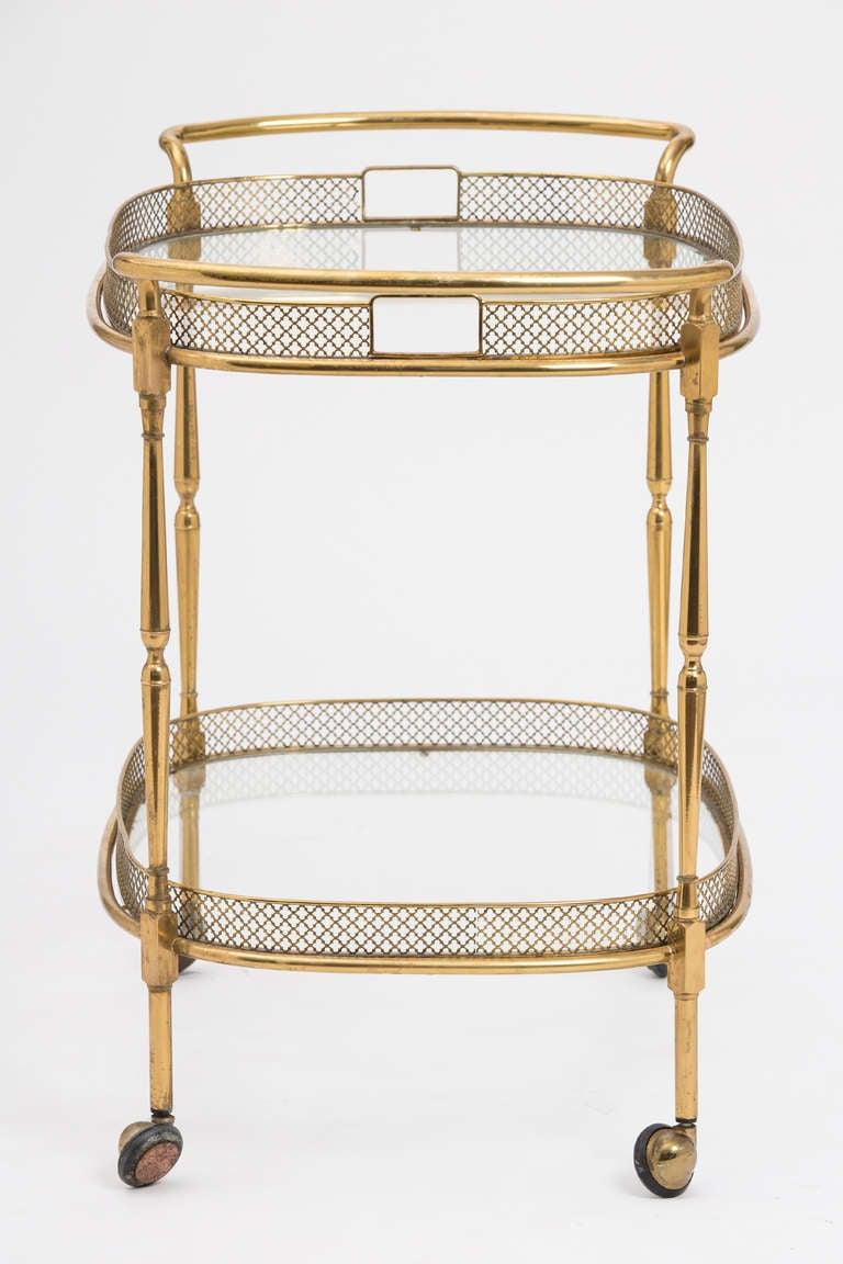 italian brass and glass bar cart at 1stdibs. Black Bedroom Furniture Sets. Home Design Ideas