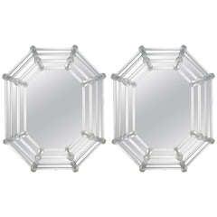 Pair of Octagonal Venetian Glass Mirrors