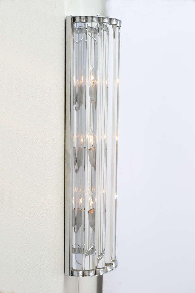 Glass Tube Wall Lights : Murano Glass Tube and Chrome Sconces at 1stdibs