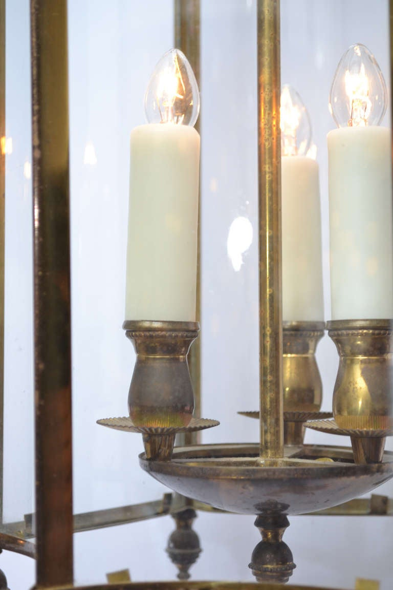 French Antique Brass And Glass Lantern At 1stdibs