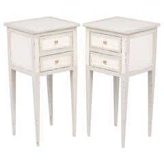 French Directoire Pair of Painted Side Tables