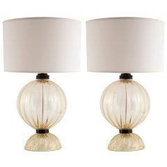 Pair Of Murano Globe Glass Lamps