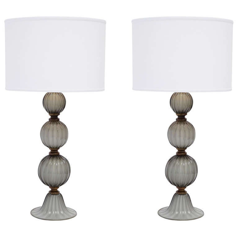 Gray Murano Glass Pair of Lamps