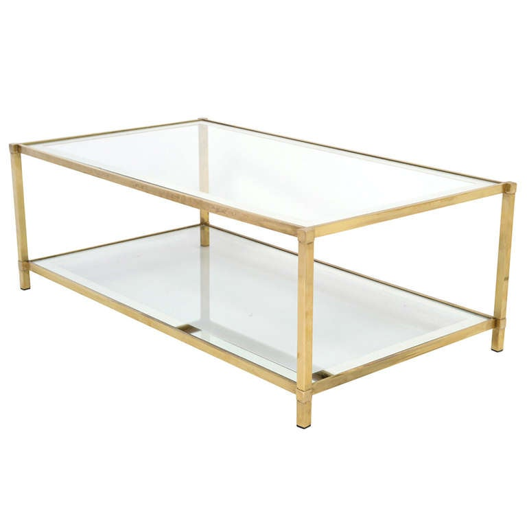 French Vintage Brass And Glass Coffee Table At 1stdibs
