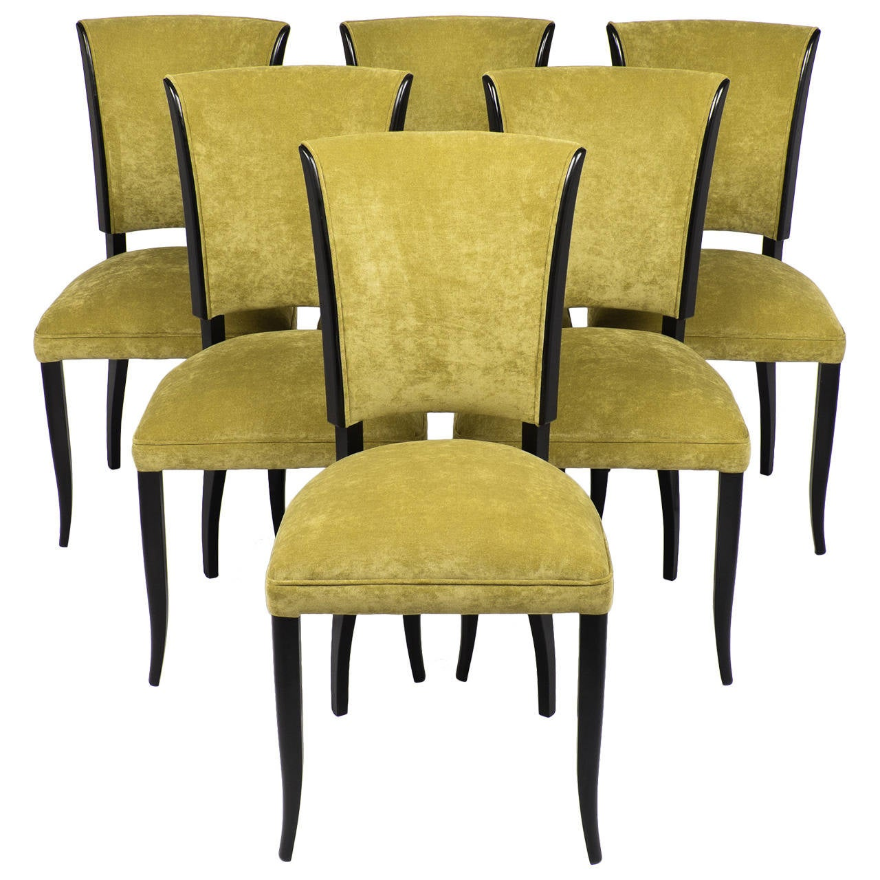 French Art Deco Set of Six Dining Chairs at 1stdibs