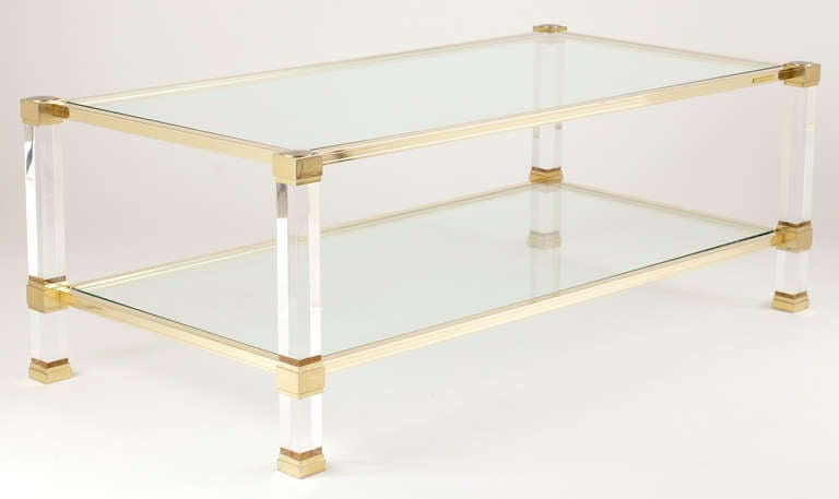 Lucite U0026 Brass Coffee Table By Pierre Vandel 2