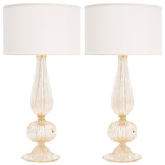 Pair of Murano Pulegoso Glass Lamps