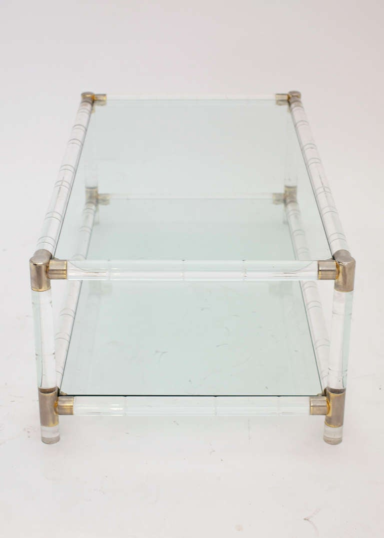 Vintage Bamboo Style Lucite And Brass Coffee Table At 1stdibs