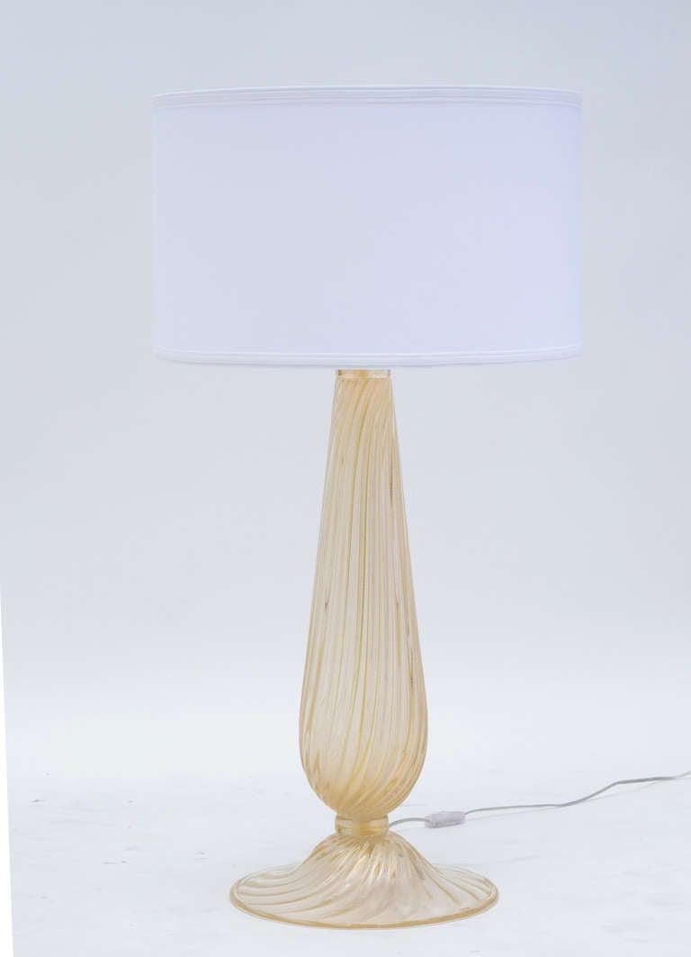 Italian Pair of Murano Avventurina Glass Lamps For Sale