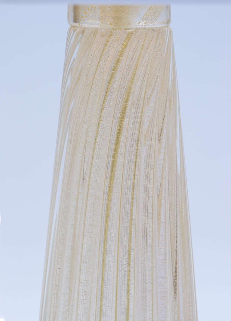 Contemporary Pair of Murano Avventurina Glass Lamps For Sale
