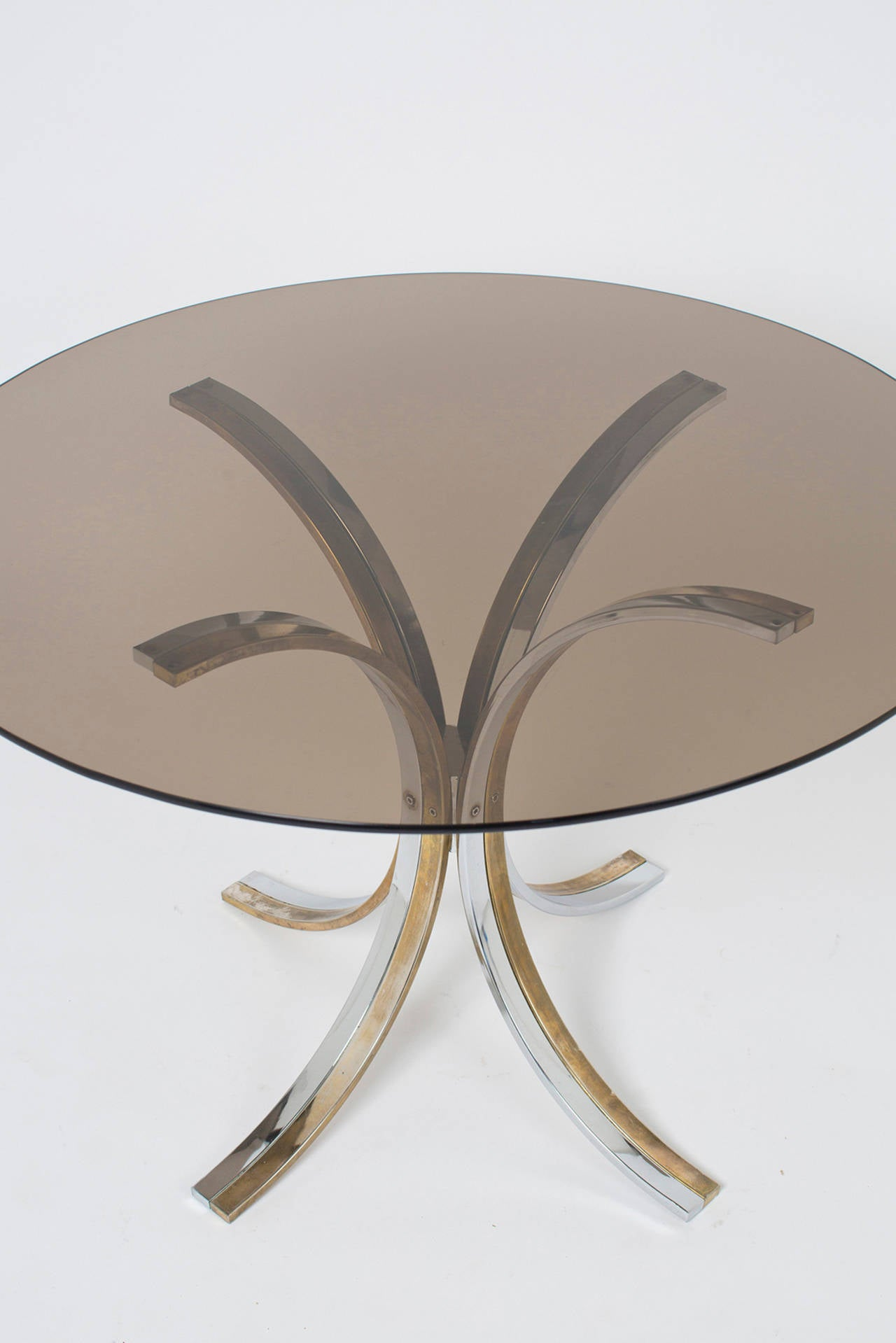 Vintage Romeo Rega Chrome Brass And Smoked Glass Table At 1stdibs