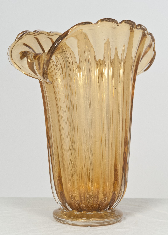 Murano Amber and Gold Glass Vase