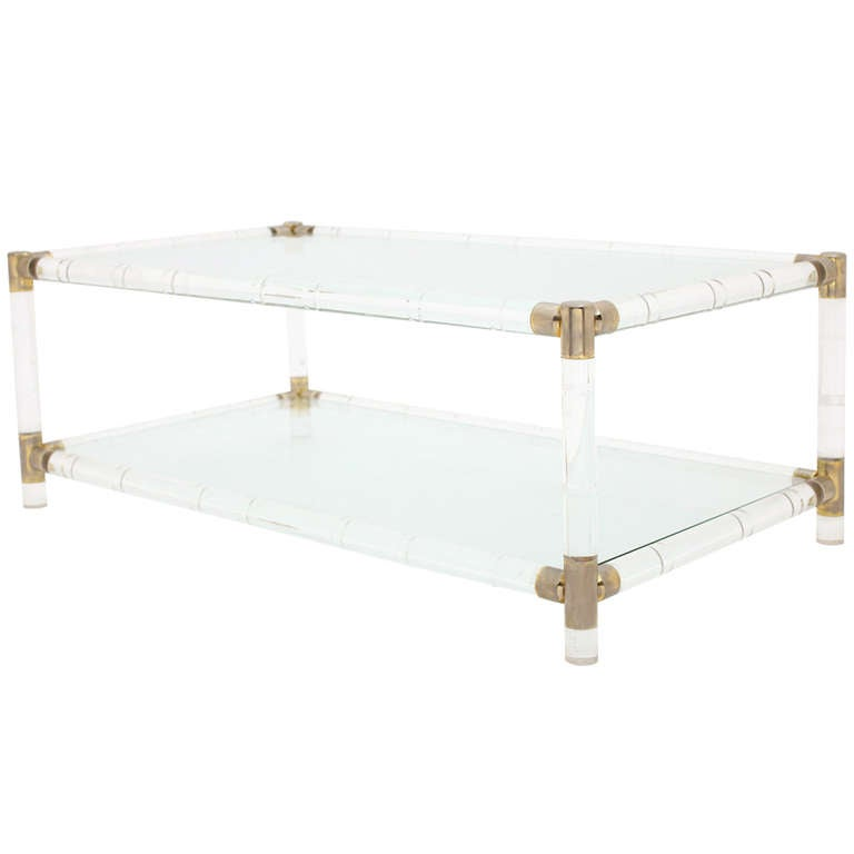 Vintage Bamboo Style Lucite Brass Coffee Table