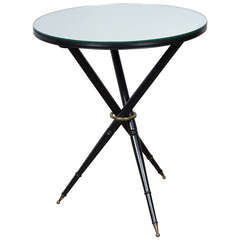 Mirror Top Ebonized Tripod Side Table