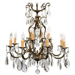 French Antique Louis XIV Bronze and Crystal Chandelier