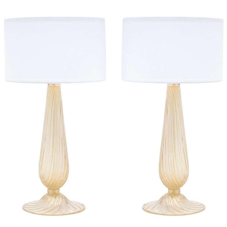 Pair of Murano Avventurina Glass Lamps