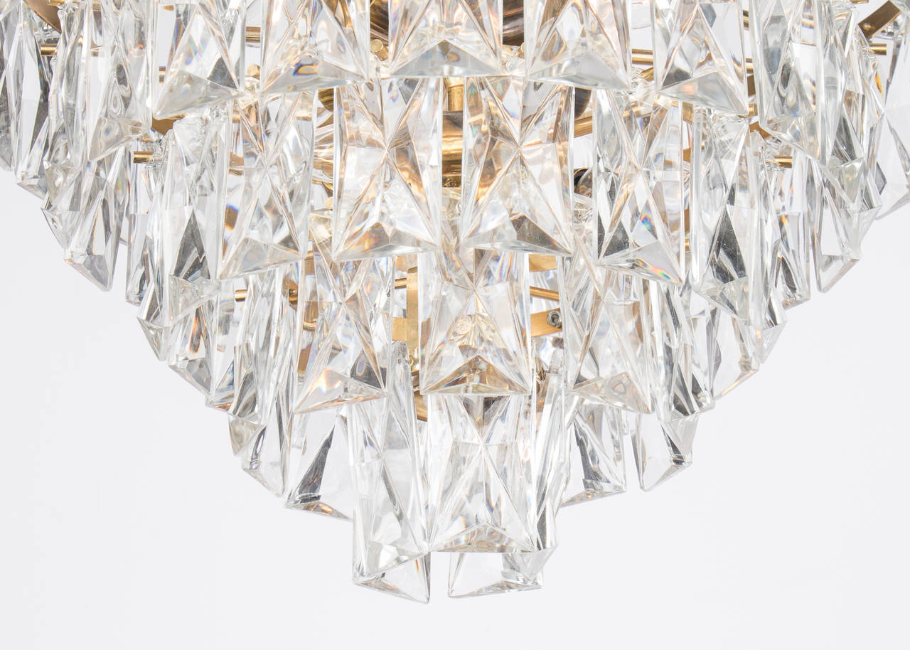 French Vintage Baccarat Crystal And Brass Chandelier At