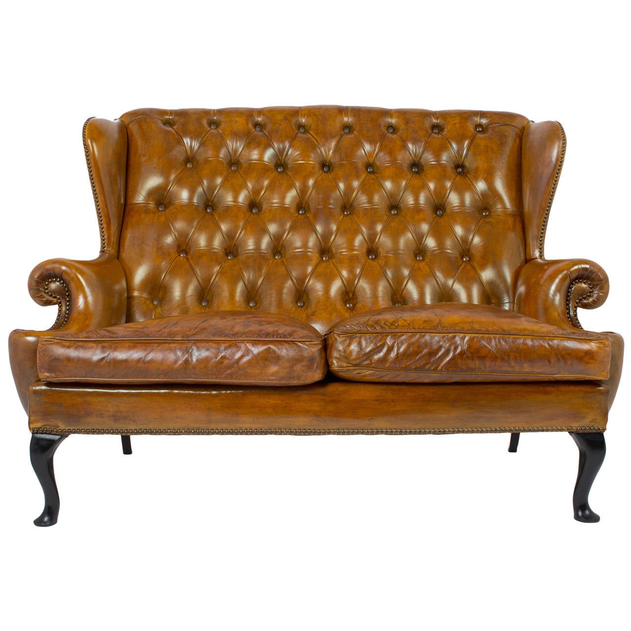 Vintage Tufted Leather Wingback Sofa At 1stdibs