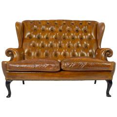 Vintage Tufted Leather Wingback Sofa