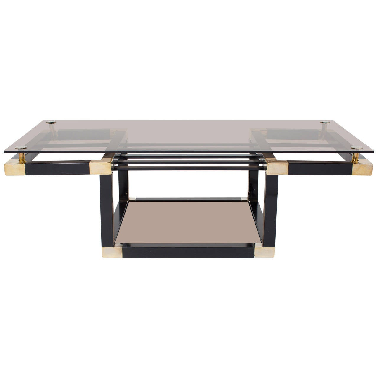 French Vintage Brass And Lacquered Steel Coffee Table At 1stdibs
