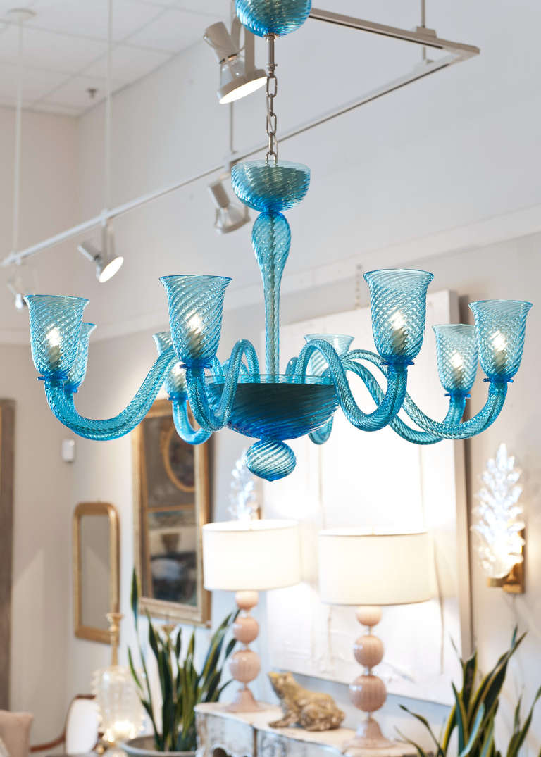 Cerulean blue murano glass chandelier at 1stdibs hand blown murano glass chandelier in translucent cerulean with eight branches and gorgeous texture height aloadofball Images