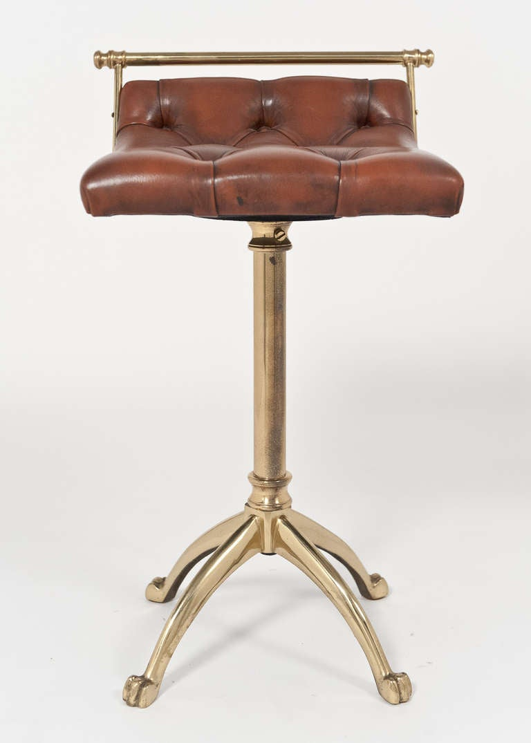 Vintage Leather And Gilt Brass Harpist Stool At 1stdibs