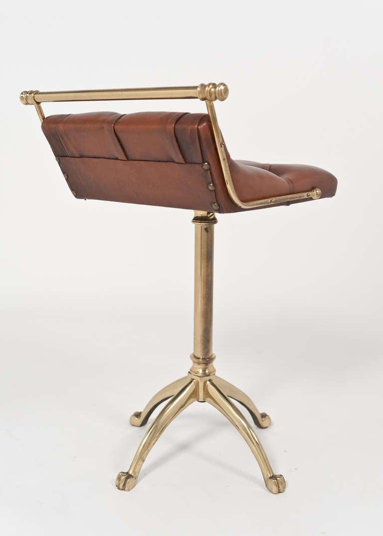 Vintage Leather And Gilt Brass Harpist Stool At 1stdibs