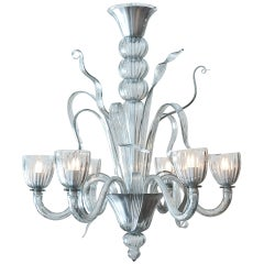 Murano Smoked Glass Chandelier by Seguso