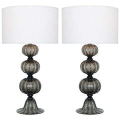 "Pair of Murano ""Pulegoso"" Glass Table Lamps"