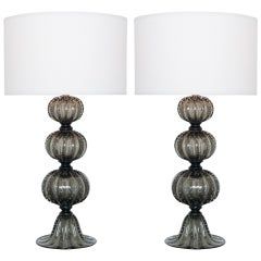 "Pair of Murano ""Pulegoso"" Glass Table Lamps"