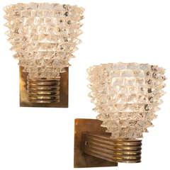 Pair of Murano Glass & Brass Sconces by Barovier