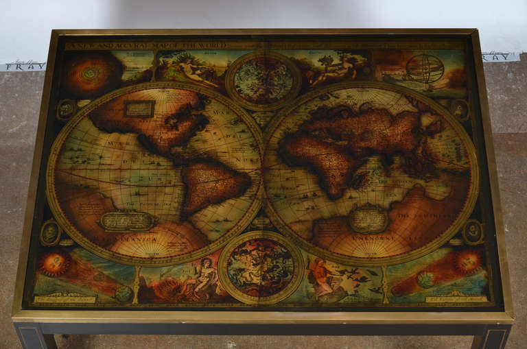 Vintage World Map Coffee Table By Maison Jansen Image 7 Pictures To