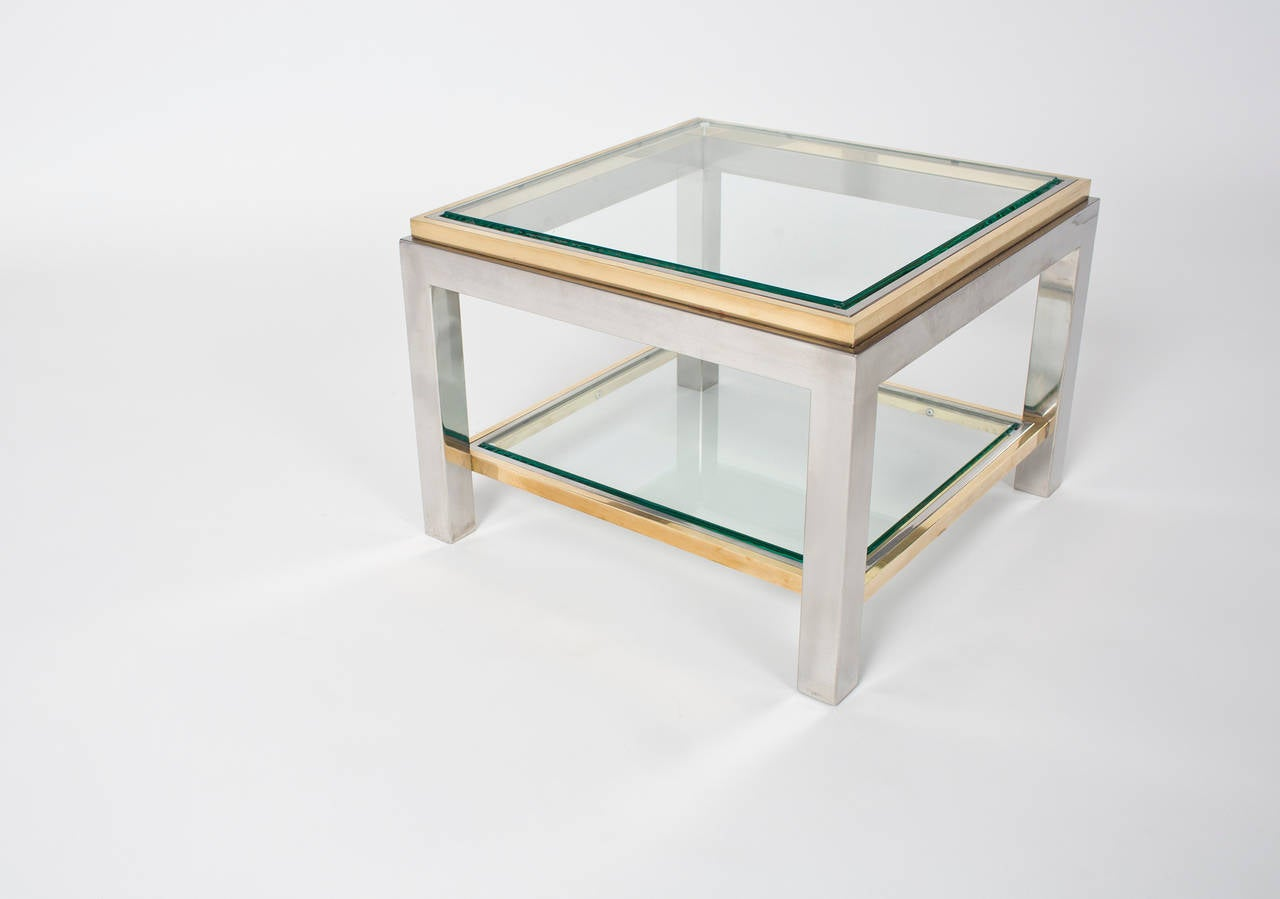 Mid-Century Modern French Vintage Pair of Chrome and Brass Side Tables For Sale