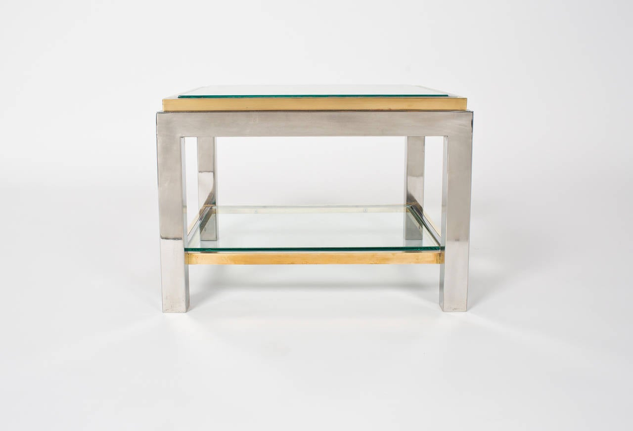 French Vintage Pair of Chrome and Brass Side Tables For Sale 1