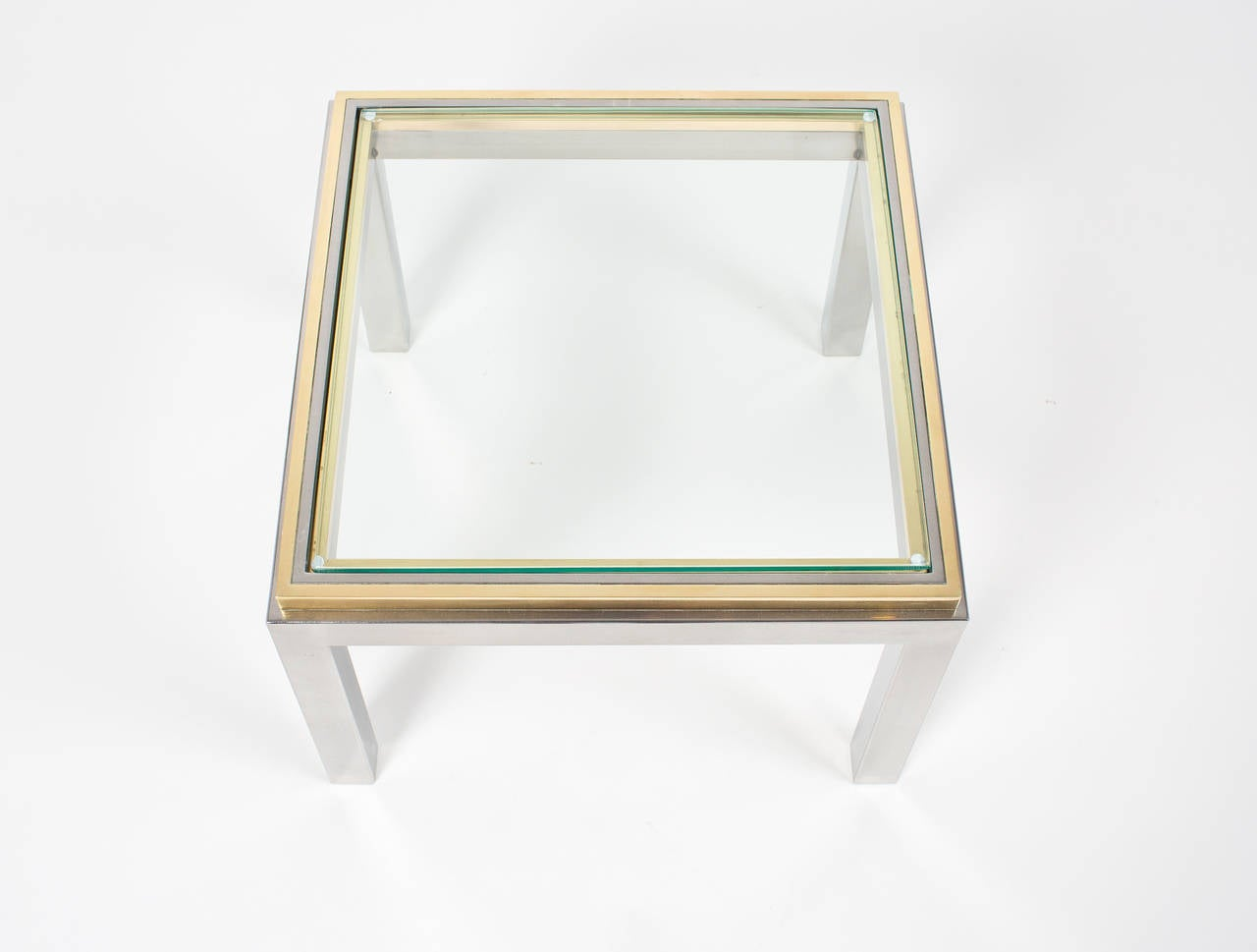 French Vintage Pair of Chrome and Brass Side Tables For Sale 2