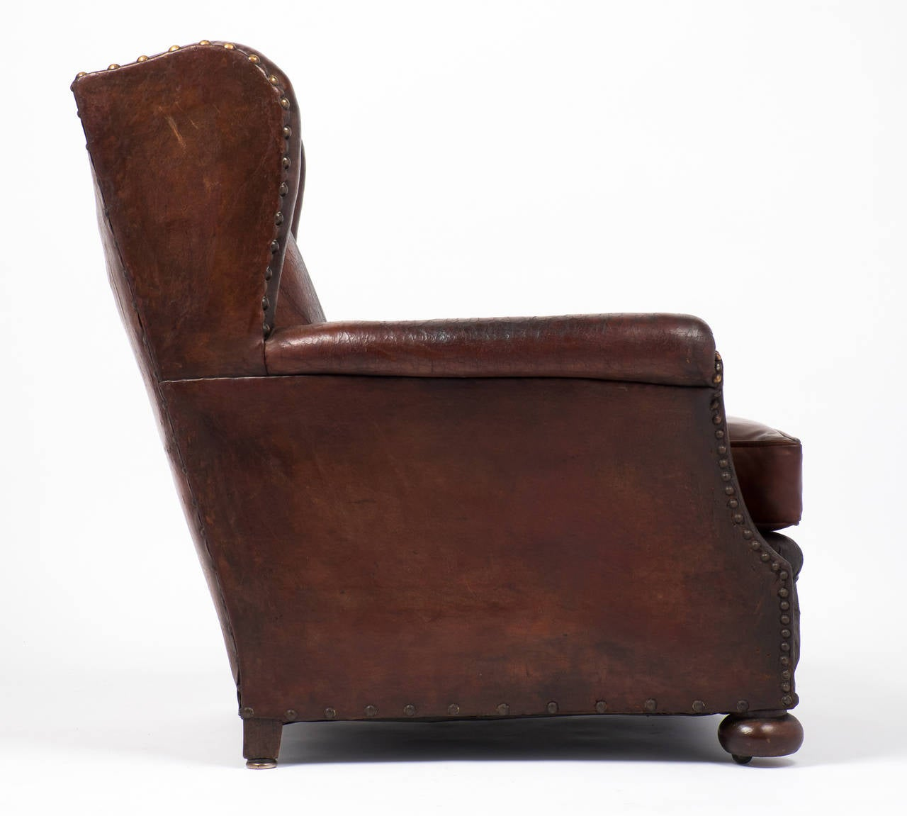 French Vintage Wingback Leather Club Chair At 1stdibs