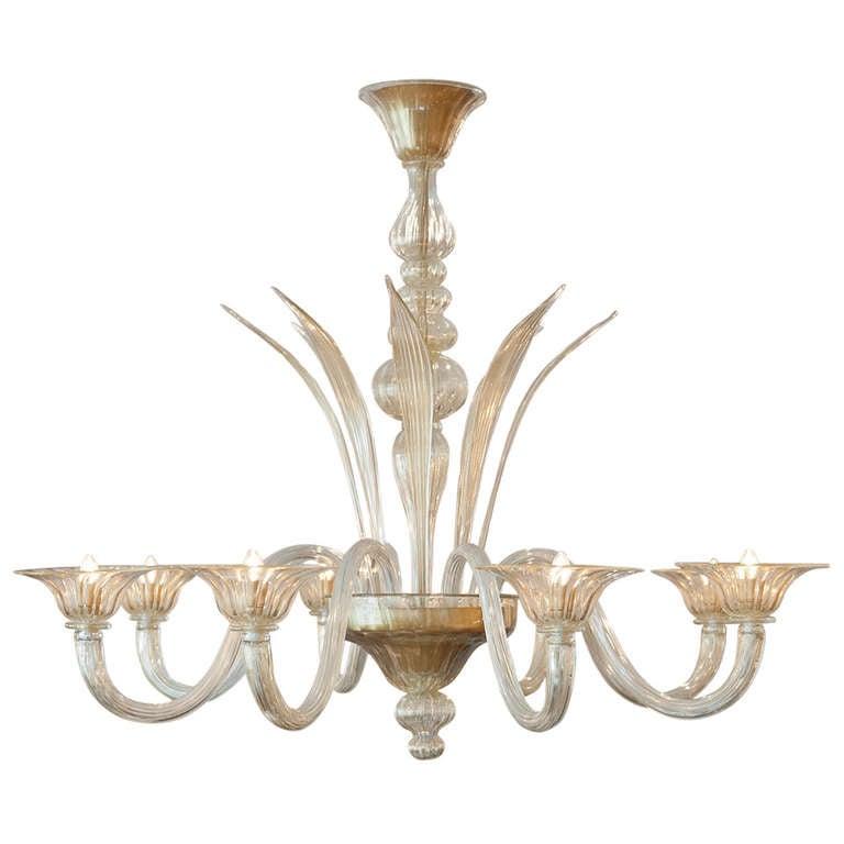 """Murano Glass """"Polvera d'Oro"""" Chandelier For Sale"""