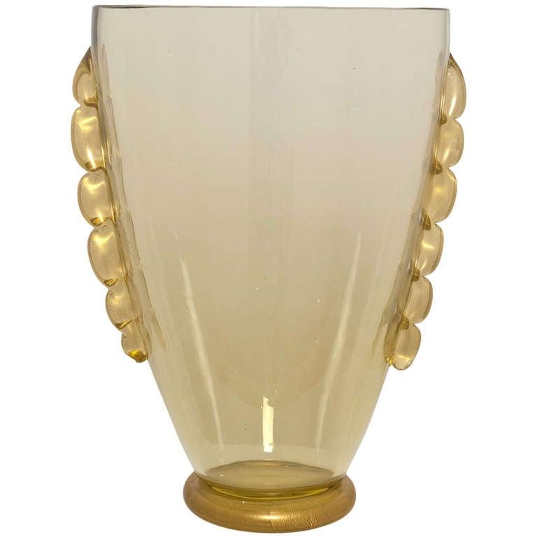 "Murano ""Avventurina"" Gold Glass Vase For Sale"