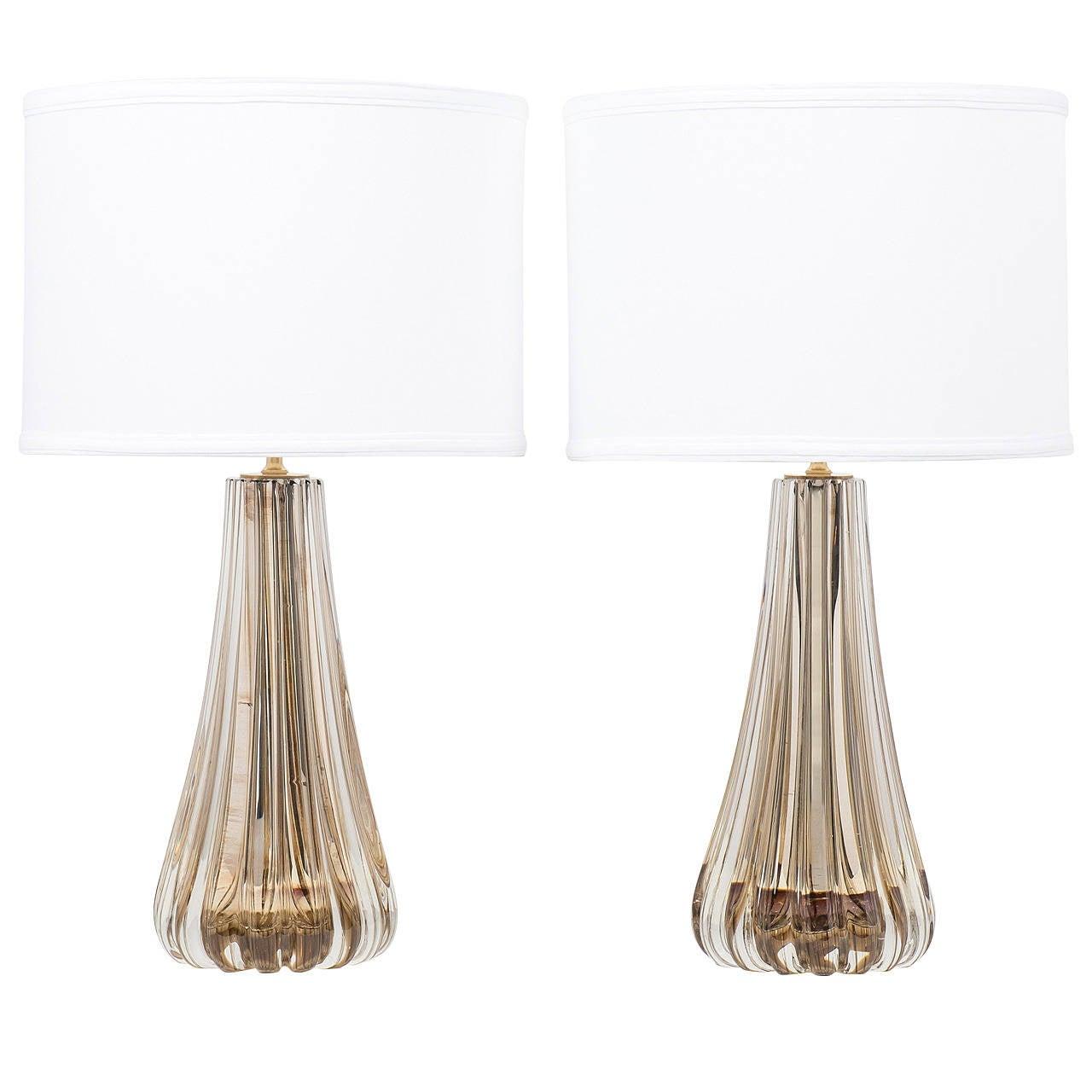 Pair of Murano Mercury Glass Lamps
